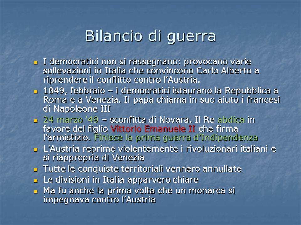 I democratici non si rassegnano: provocano varie sollevazioni in Italia che convincono Carlo Alberto a riprendere il conflitto contro l'Austria.