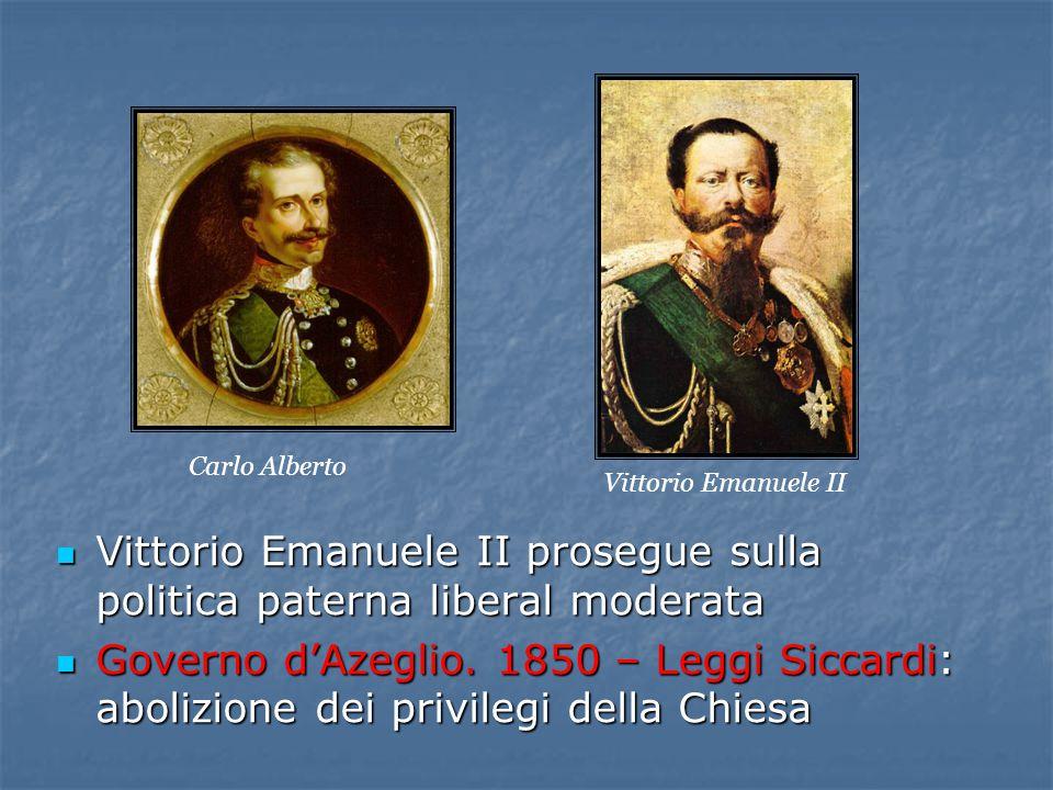 Vittorio Emanuele II prosegue sulla politica paterna liberal moderata Vittorio Emanuele II prosegue sulla politica paterna liberal moderata Governo d'Azeglio.