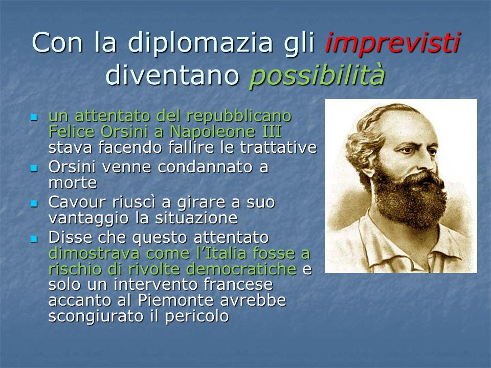 Con la diplomazia gli imprevisti diventano possibilità un attentato del repubblicano Felice Orsini a Napoleone III stava facendo fallire le trattative