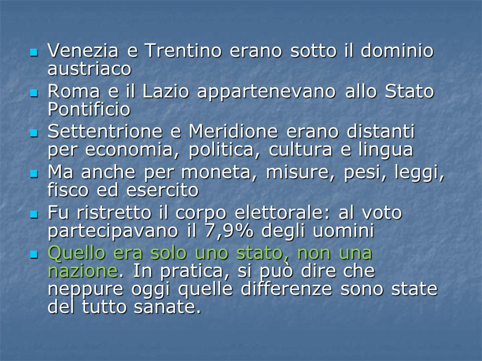 Venezia e Trentino erano sotto il dominio austriaco Venezia e Trentino erano sotto il dominio austriaco Roma e il Lazio appartenevano allo Stato Ponti