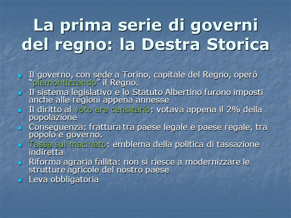 La prima serie di governi del regno: la Destra Storica Il governo, con sede a Torino, capitale del Regno, operò piemontizzando il Regno.