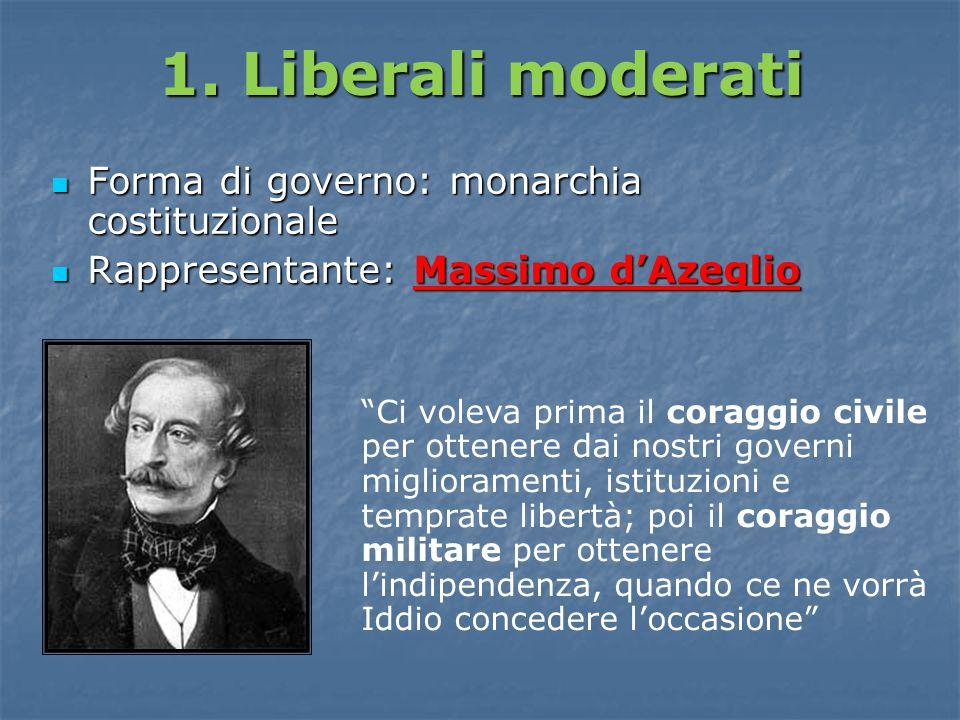 1. Liberali moderati Forma di governo: monarchia costituzionale Forma di governo: monarchia costituzionale Rappresentante: Massimo d'Azeglio Rappresen