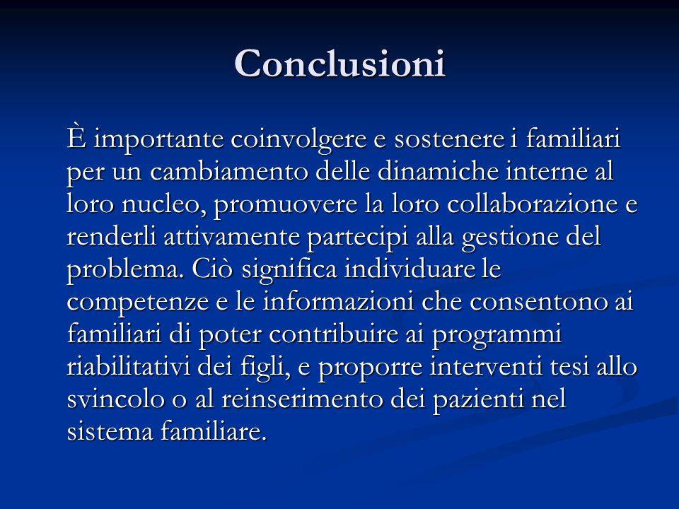 Conclusioni È importante coinvolgere e sostenere i familiari per un cambiamento delle dinamiche interne al loro nucleo, promuovere la loro collaborazione e renderli attivamente partecipi alla gestione del problema.