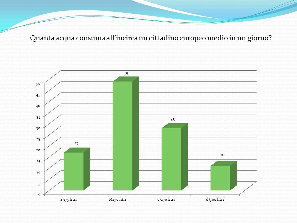 Quanta acqua consuma all'incirca un cittadino europeo medio in un giorno?
