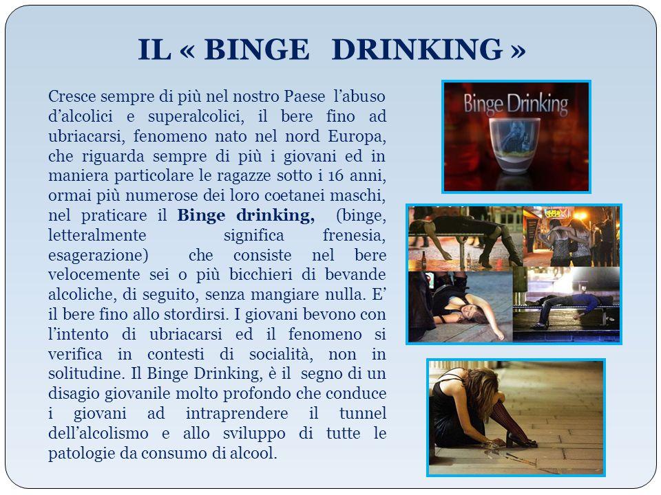IL « BINGE DRINKING » Cresce sempre di più nel nostro Paese l'abuso d'alcolici e superalcolici, il bere fino ad ubriacarsi, fenomeno nato nel nord Eur