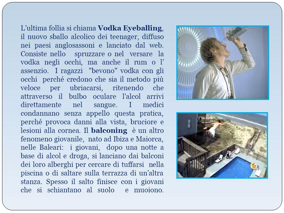 L'ultima follia si chiama Vodka Eyeballing, il nuovo sballo alcolico dei teenager, diffuso nei paesi anglosassoni e lanciato dal web. Consiste nello s