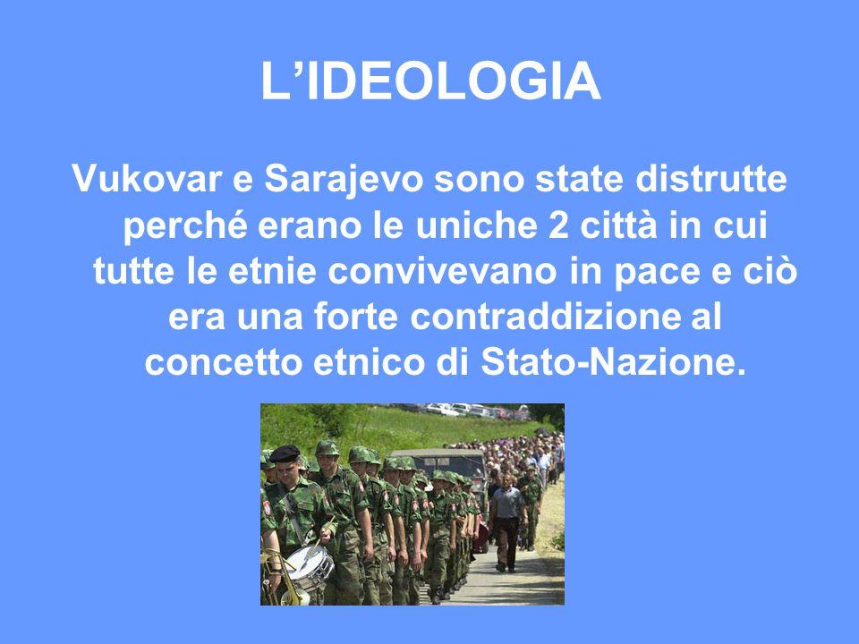 L'IDEOLOGIA Vukovar e Sarajevo sono state distrutte perché erano le uniche 2 città in cui tutte le etnie convivevano in pace e ciò era una forte contr
