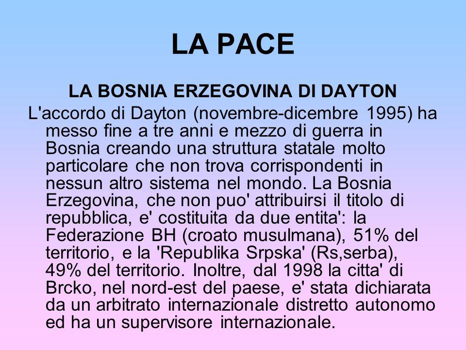 LA PACE LA BOSNIA ERZEGOVINA DI DAYTON L'accordo di Dayton (novembre-dicembre 1995) ha messo fine a tre anni e mezzo di guerra in Bosnia creando una s