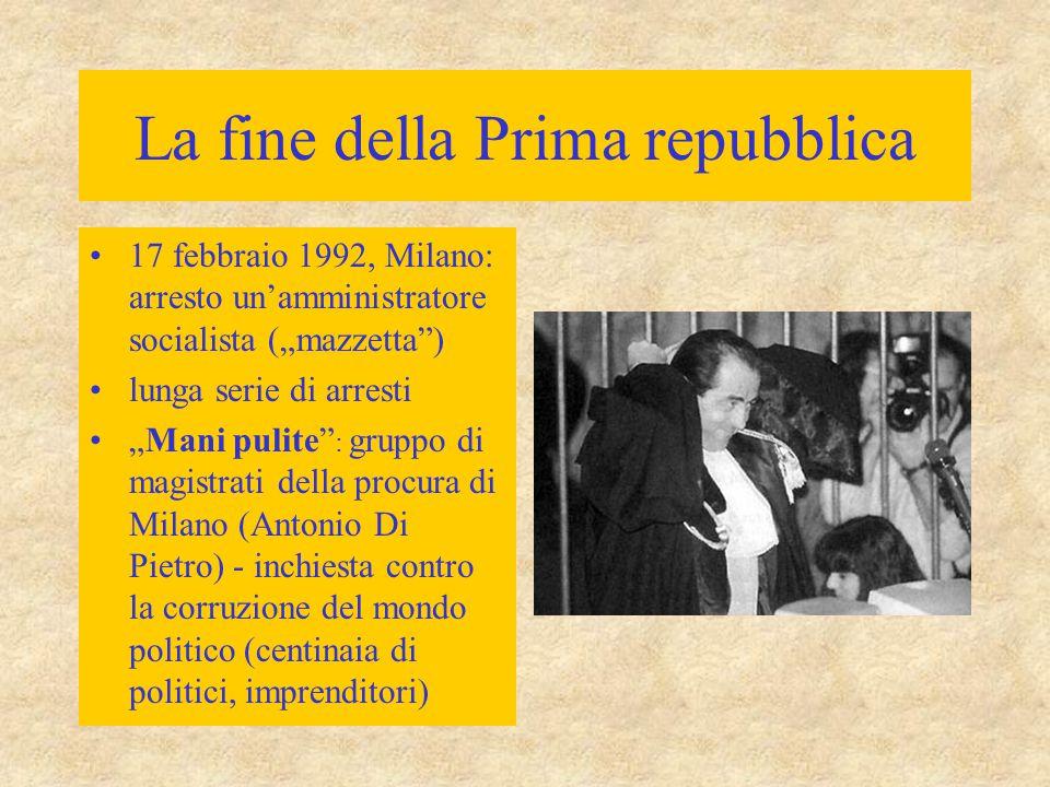 """La fine della Prima repubblica 17 febbraio 1992, Milano: arresto un'amministratore socialista (""""mazzetta"""") lunga serie di arresti """"Mani pulite"""" : grup"""