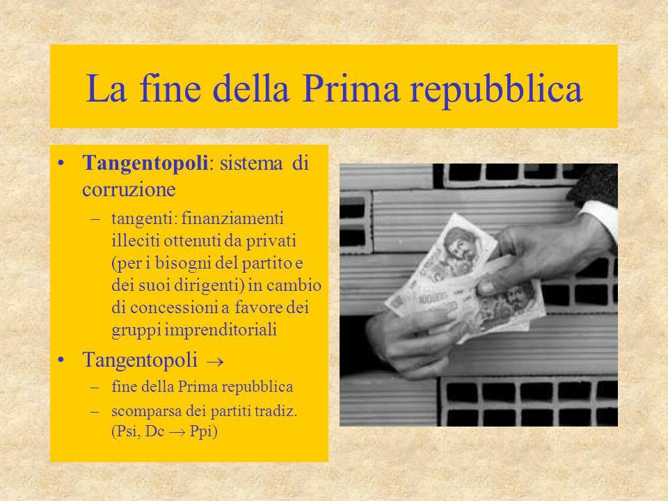 La fine della Prima repubblica Tangentopoli: sistema di corruzione –tangenti: finanziamenti illeciti ottenuti da privati (per i bisogni del partito e