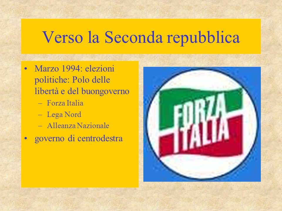 Verso la Seconda repubblica Marzo 1994: elezioni politiche: Polo delle libertà e del buongoverno –Forza Italia –Lega Nord –Alleanza Nazionale governo