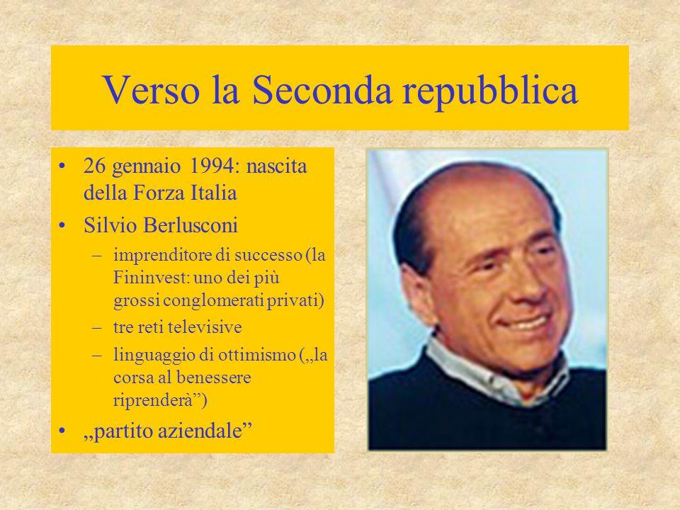 Verso la Seconda repubblica 26 gennaio 1994: nascita della Forza Italia Silvio Berlusconi –imprenditore di successo (la Fininvest: uno dei più grossi