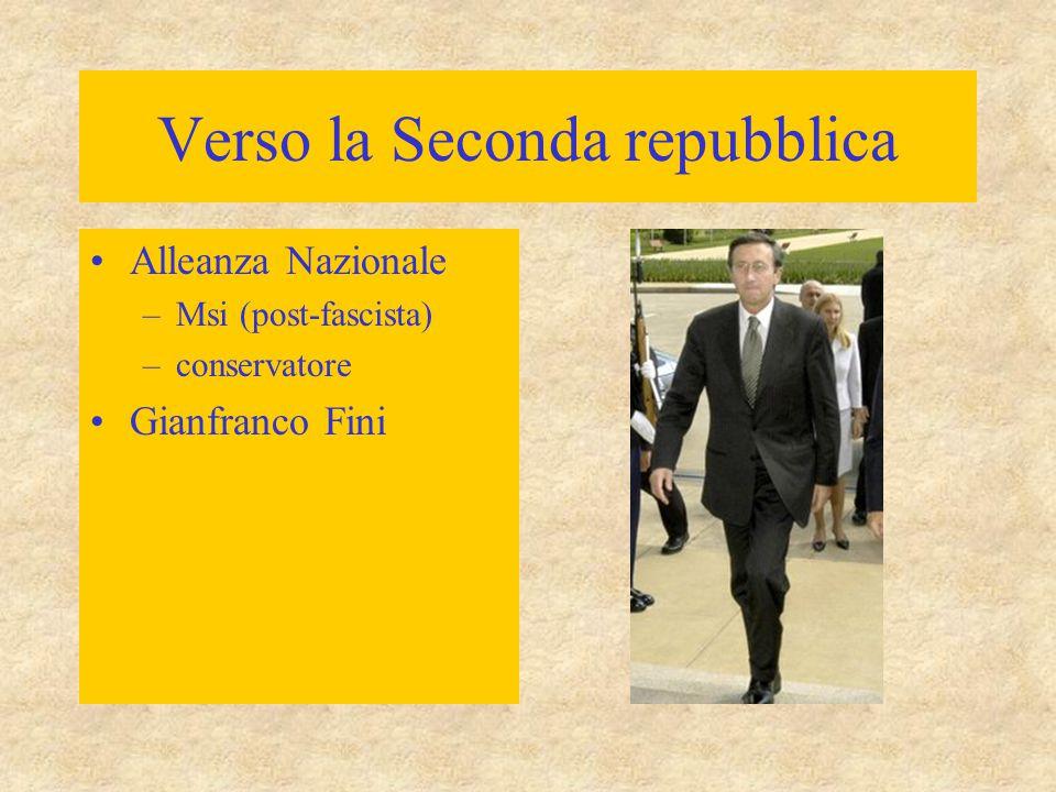 Verso la Seconda repubblica Alleanza Nazionale –Msi (post-fascista) –conservatore Gianfranco Fini