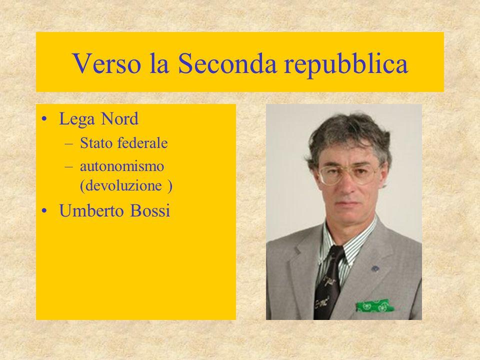 Verso la Seconda repubblica Lega Nord –Stato federale –autonomismo (devoluzione ) Umberto Bossi