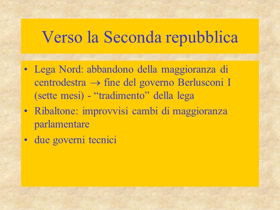 """Verso la Seconda repubblica Lega Nord: abbandono della maggioranza di centrodestra  fine del governo Berlusconi I (sette mesi) - """"tradimento"""" della l"""