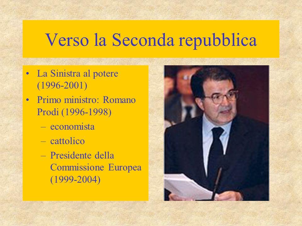 Verso la Seconda repubblica La Sinistra al potere (1996-2001) Primo ministro: Romano Prodi (1996-1998) –economista –cattolico –Presidente della Commis