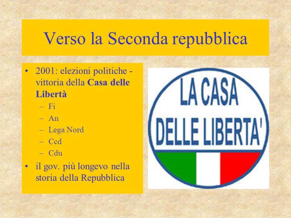 Verso la Seconda repubblica 2001: elezioni politiche - vittoria della Casa delle Libertà –Fi –An –Lega Nord –Ccd –Cdu il gov. più longevo nella storia