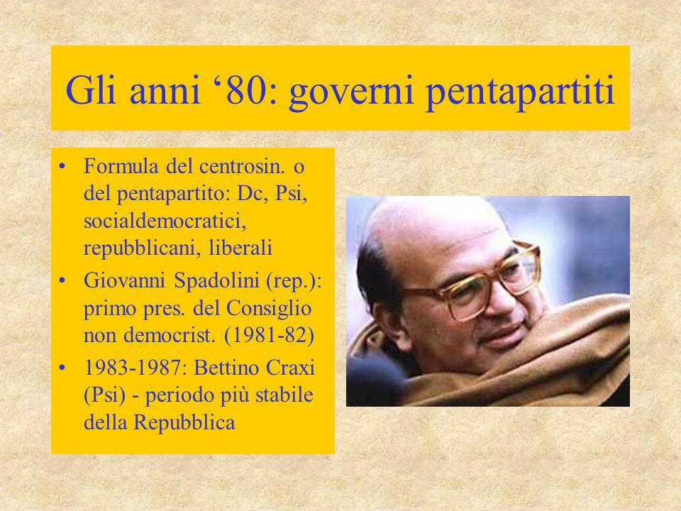 Gli anni '80: governi pentapartiti Presidente della Repubblica (1978- 1985): Sandro Pertini