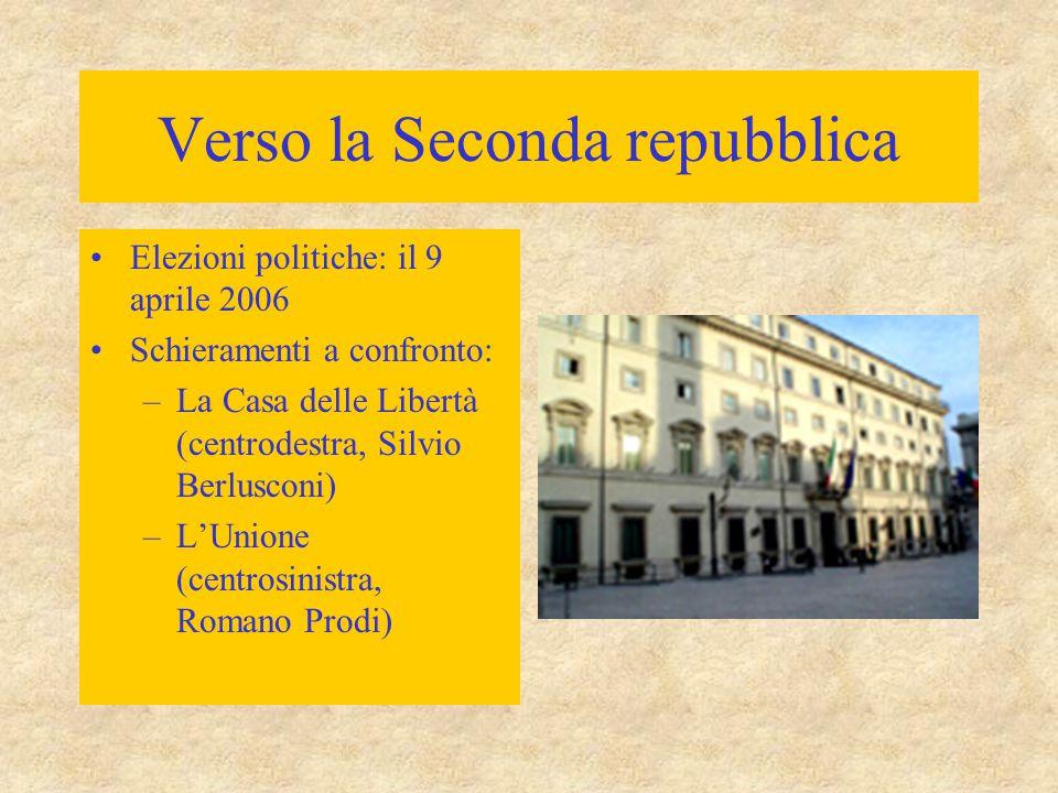 Verso la Seconda repubblica Elezioni politiche: il 9 aprile 2006 Schieramenti a confronto: –La Casa delle Libertà (centrodestra, Silvio Berlusconi) –L