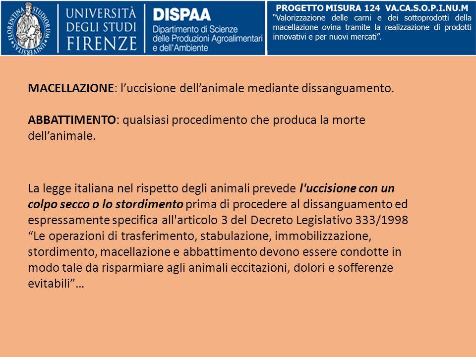 MACELLAZIONE: l'uccisione dell'animale mediante dissanguamento. ABBATTIMENTO: qualsiasi procedimento che produca la morte dell'animale. La legge itali