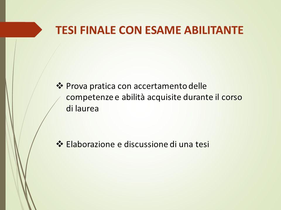 TESI FINALE CON ESAME ABILITANTE  Prova pratica con accertamento delle competenze e abilità acquisite durante il corso di laurea  Elaborazione e dis