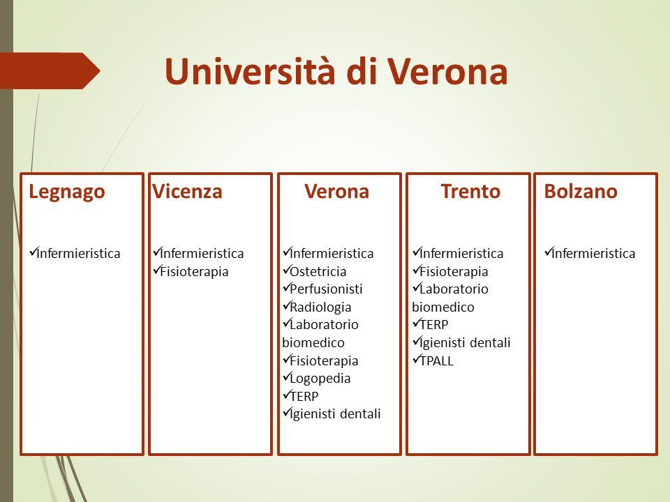 Università di Verona Verona Infermieristica Ostetricia Perfusionisti Radiologia Laboratorio biomedico Fisioterapia Logopedia TERP Igienisti dentali Vi