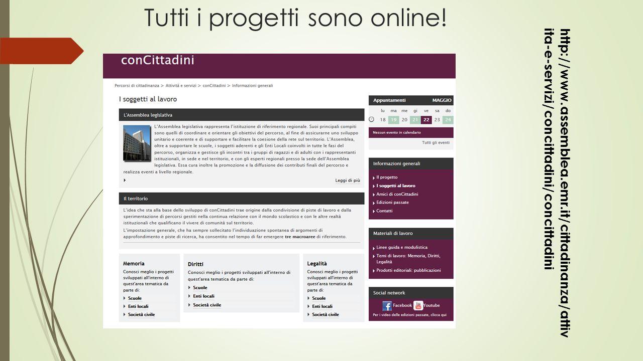 Tutti i progetti sono online! http://www.assemblea.emr.it/cittadinanza/attiv ita-e-servizi/concittadini/concittadini