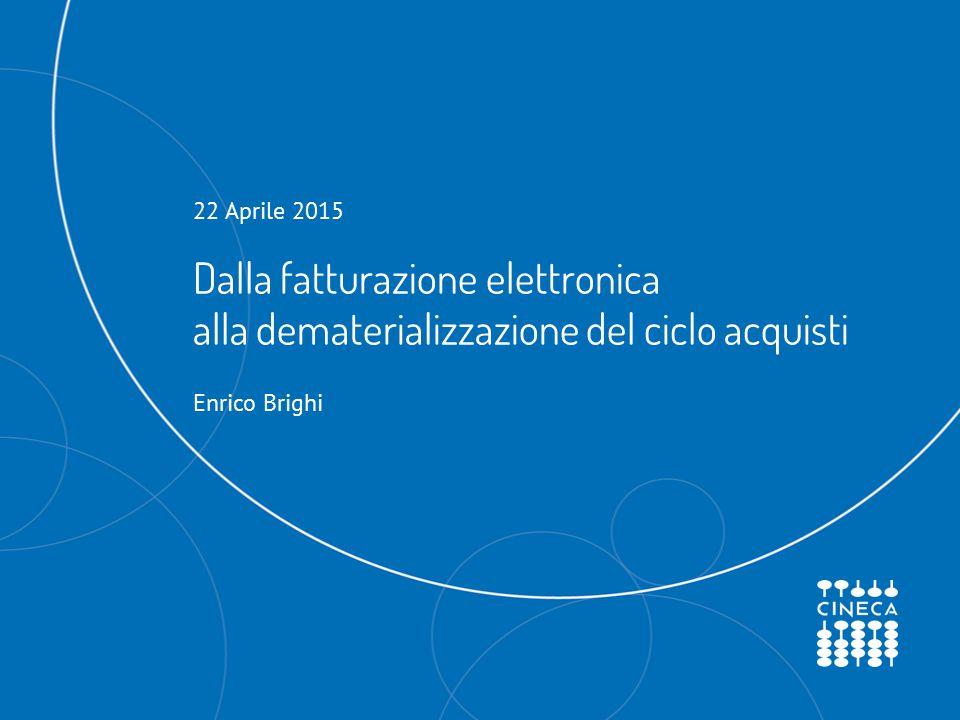 Dalla fatturazione elettronica alla dematerializzazione del ciclo acquisti 22 Aprile 2015 Enrico Brighi