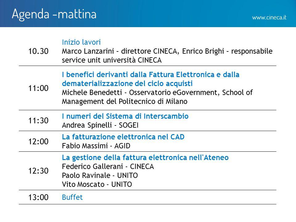 www.cineca.it Agenda -mattina 10.30 Inizio lavori Marco Lanzarini – direttore CINECA, Enrico Brighi – responsabile service unit università CINECA 11:0