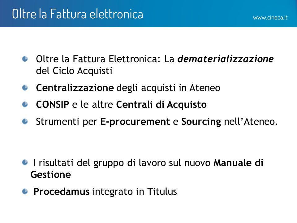 www.cineca.it Oltre la Fattura elettronica Oltre la Fattura Elettronica: La dematerializzazione del Ciclo Acquisti Centralizzazione degli acquisti in