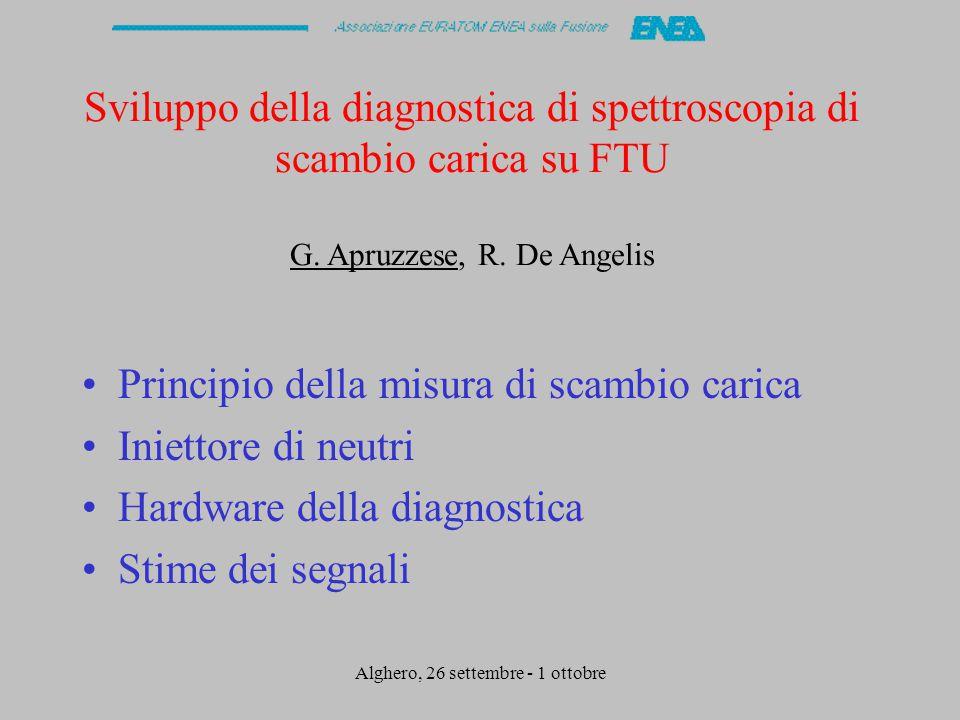 Alghero, 26 settembre - 1 ottobre Sviluppo della diagnostica di spettroscopia di scambio carica su FTU G.