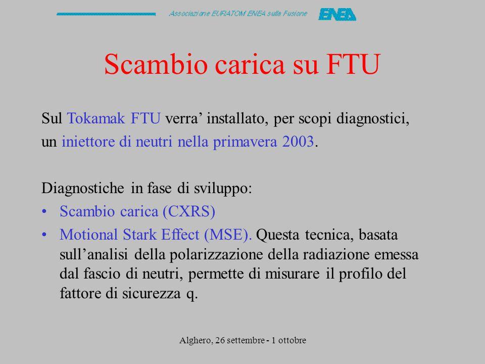 Alghero, 26 settembre - 1 ottobre Scambio carica su FTU Sul Tokamak FTU verra' installato, per scopi diagnostici, un iniettore di neutri nella primavera 2003.