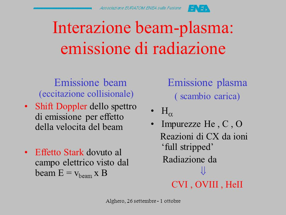 Alghero, 26 settembre - 1 ottobre Interazione beam-plasma: emissione di radiazione Emissione beam (eccitazione collisionale) Shift Doppler dello spettro di emissione per effetto della velocita del beam Effetto Stark dovuto al campo elettrico visto dal beam E = v beam x B Emissione plasma ( scambio carica) H  Impurezze He, C, O Reazioni di CX da ioni 'full stripped' Radiazione da  CVI, OVIII, HeII