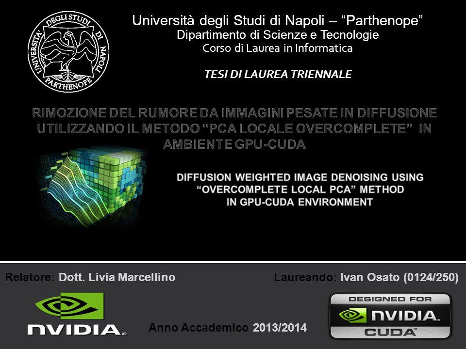 Ivan Osato - Università degli Studi di Napoli Parthenope 22 Per 10 direzioni, le performance della CPU sono pari a 7 GFlops mentre per la GPU sono 83,14 GFlops, ovvero circa 12 volte maggiori rispetto a quelle della CPU ottenendo un guadagno prestazionale pari a 91,6%.