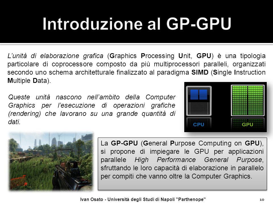 10 L'unità di elaborazione grafica (Graphics Processing Unit, GPU) è una tipologia particolare di coprocessore composto da più multiprocessori paralle