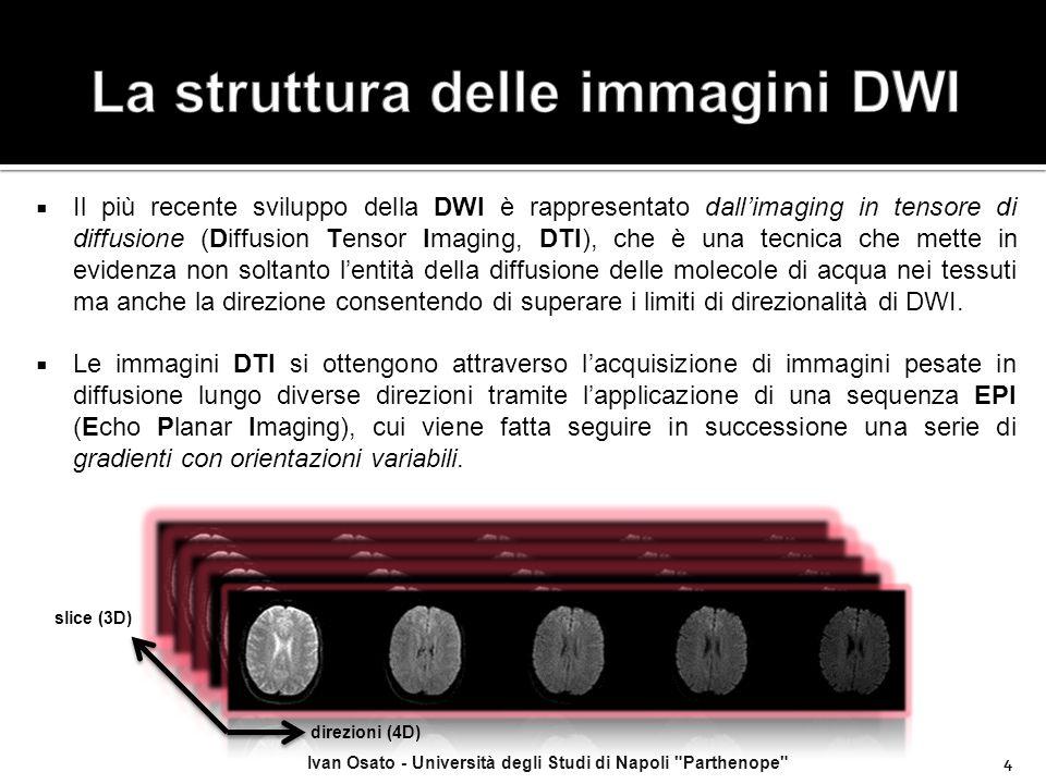  Il più recente sviluppo della DWI è rappresentato dall'imaging in tensore di diffusione (Diffusion Tensor Imaging, DTI), che è una tecnica che mette