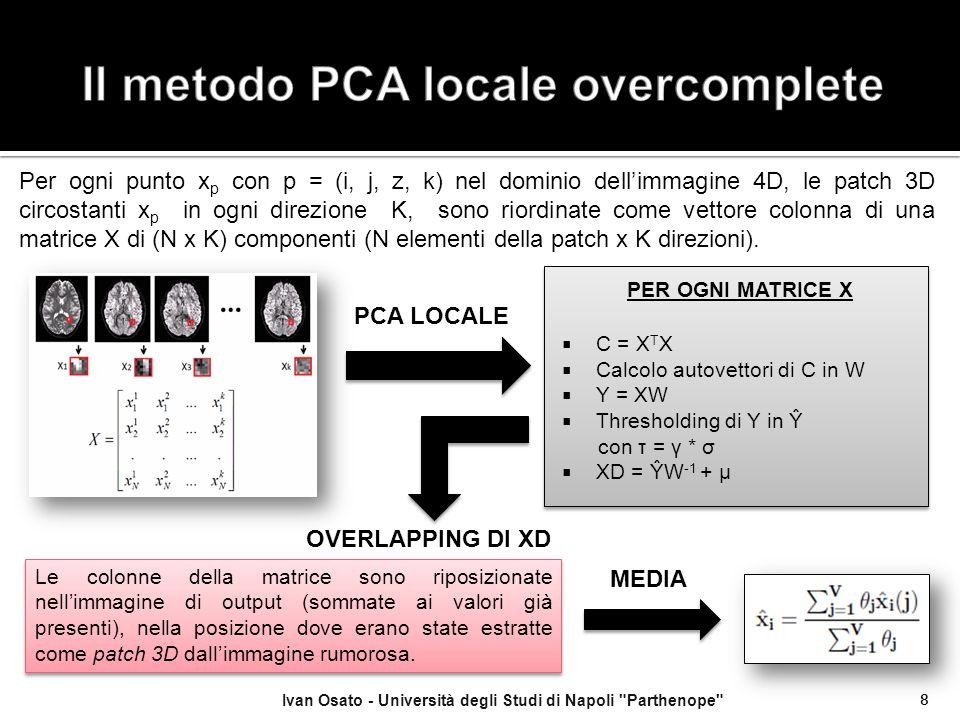 Ivan Osato - Università degli Studi di Napoli Parthenope 19 Si riportano i valori di PSNR per le tre immagini campione utilizzate, al variare del livello di rumore.