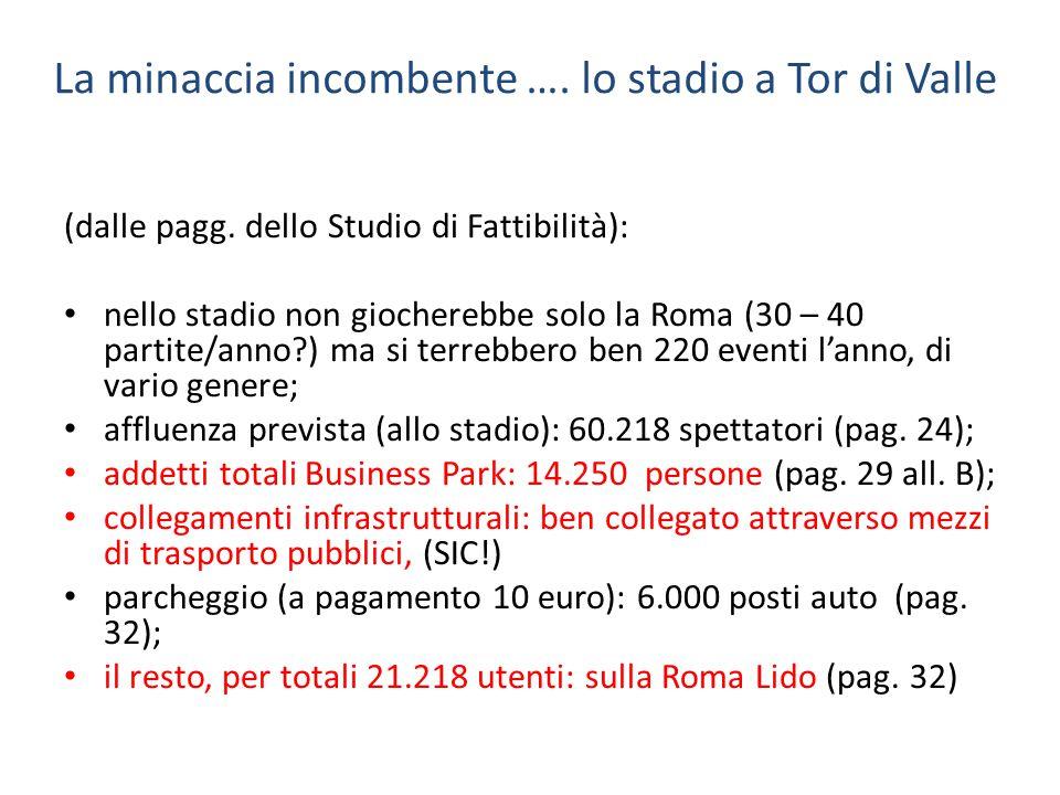 La minaccia incombente …. lo stadio a Tor di Valle (dalle pagg. dello Studio di Fattibilità): nello stadio non giocherebbe solo la Roma (30 – 40 parti