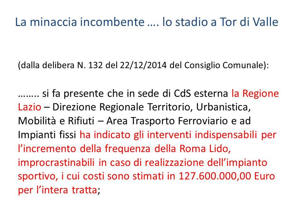 La minaccia incombente …. lo stadio a Tor di Valle (dalla delibera N. 132 del 22/12/2014 del Consiglio Comunale): …….. si fa presente che in sede di C