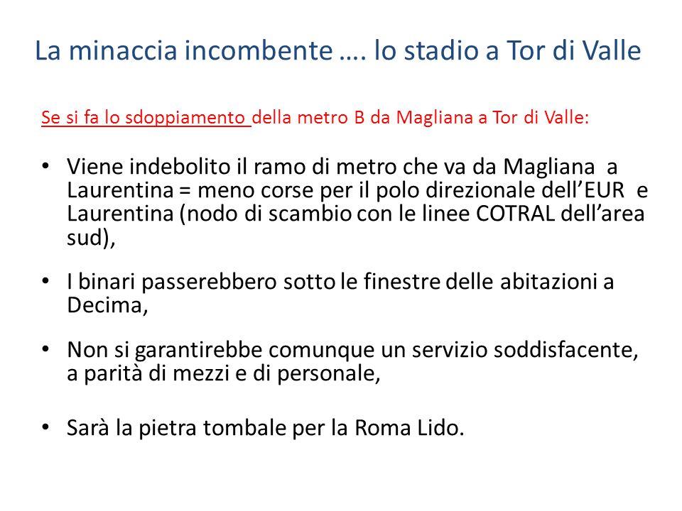 La minaccia incombente …. lo stadio a Tor di Valle Se si fa lo sdoppiamento della metro B da Magliana a Tor di Valle: Viene indebolito il ramo di metr