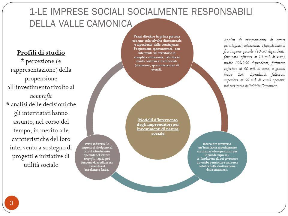 3 Modelli d'intervento degli imprenditori per investimenti di natura sociale Prassi diretta e in prima persona con uno stile talvolta discrezionale e dipendente dalle contingenze.