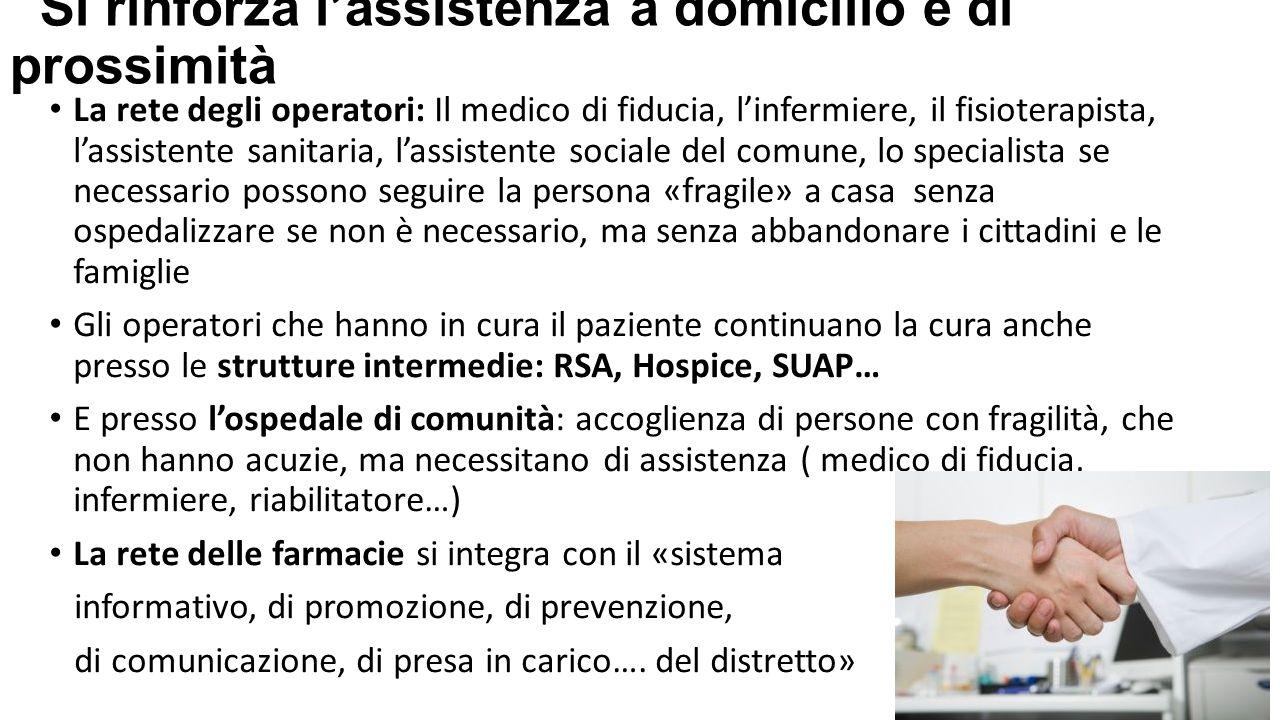Si rinforza l'assistenza a domicilio e di prossimità La rete degli operatori: Il medico di fiducia, l'infermiere, il fisioterapista, l'assistente sani