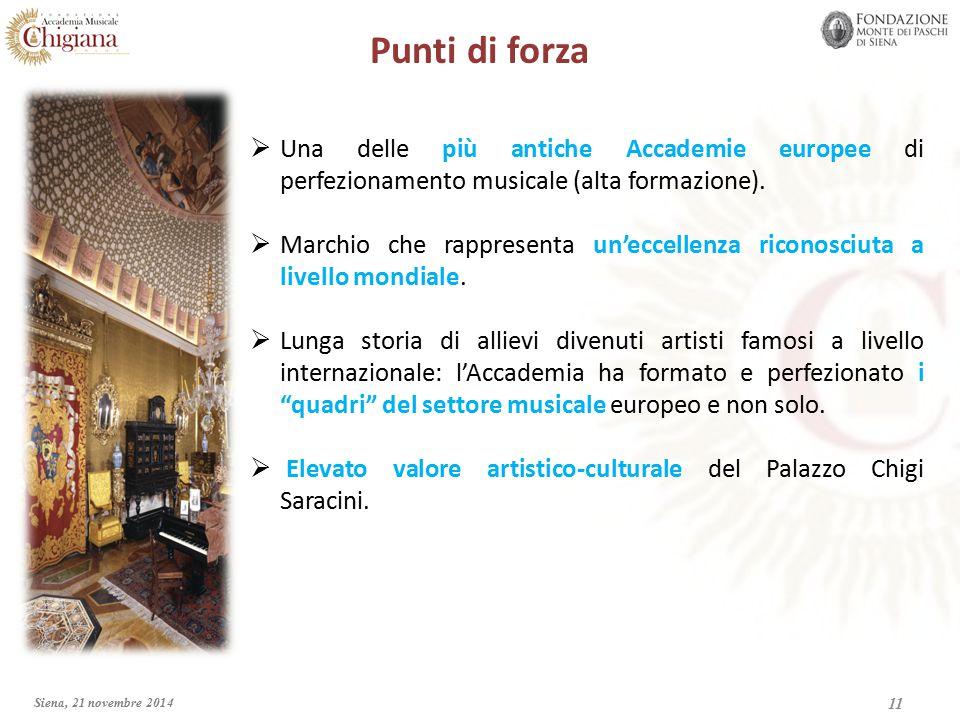 Punti di forza  Una delle più antiche Accademie europee di perfezionamento musicale (alta formazione).