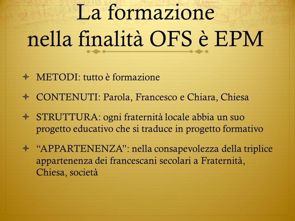 La formazione nella finalità OFS è EPM  METODI: tutto è formazione  CONTENUTI: Parola, Francesco e Chiara, Chiesa  STRUTTURA: ogni fraternità local