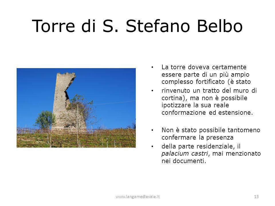 Torre di S. Stefano Belbo La torre doveva certamente essere parte di un più ampio complesso fortificato (è stato rinvenuto un tratto del muro di corti