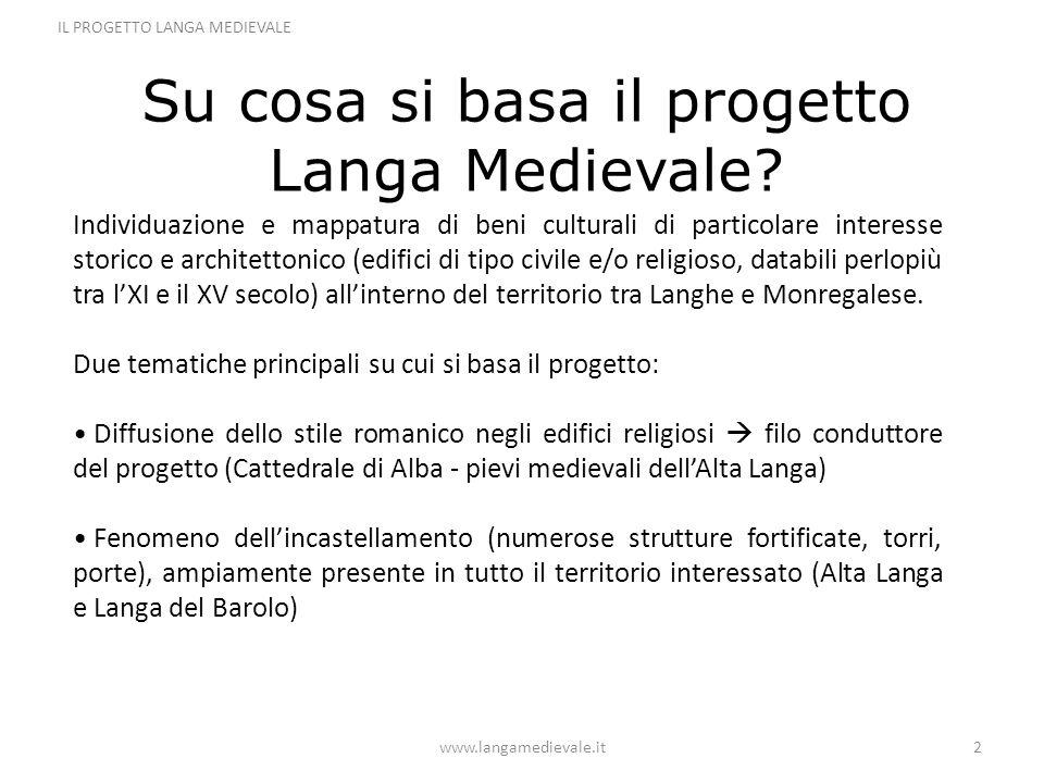 Su cosa si basa il progetto Langa Medievale? www.langamedievale.it2 IL PROGETTO LANGA MEDIEVALE Individuazione e mappatura di beni culturali di partic