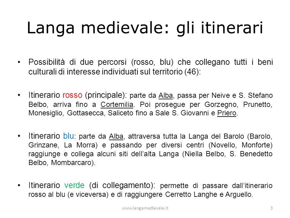 Langa medievale: gli itinerari Possibilità di due percorsi (rosso, blu) che collegano tutti i beni culturali di interesse individuati sul territorio (