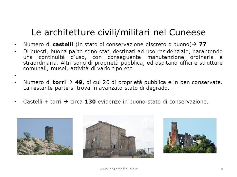 Le architetture civili/militari nel Cuneese Numero di castelli (in stato di conservazione discreto o buono)  77 Di questi, buona parte sono stati des