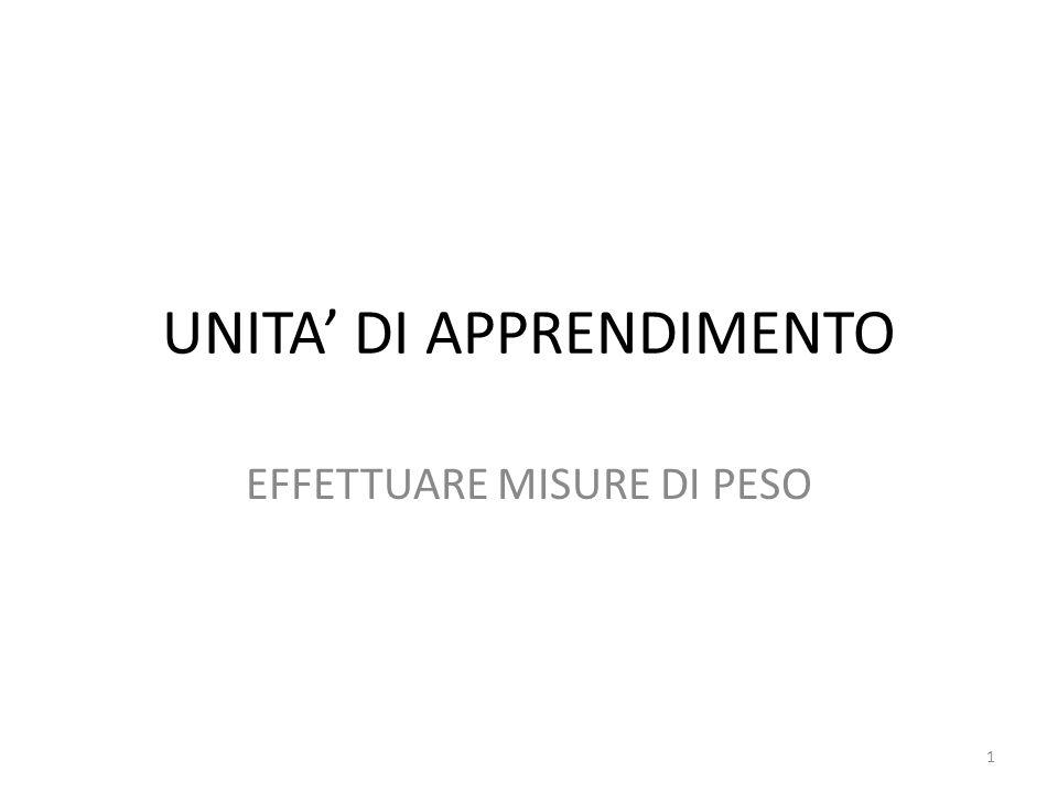 UNITA' DI APPRENDIMENTO EFFETTUARE MISURE DI PESO 1