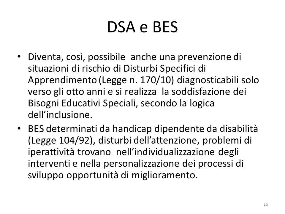 DSA e BES Diventa, così, possibile anche una prevenzione di situazioni di rischio di Disturbi Specifici di Apprendimento (Legge n. 170/10) diagnostica